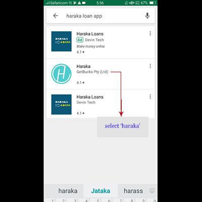 how to download haraka app haraka loan application select haraka from search results