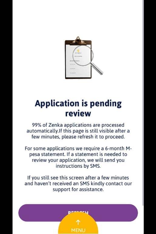 application pending review apply for zenka loan